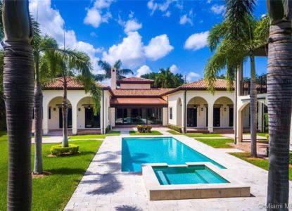 Maison de style méditerranéen, 6 chambres, Miami, Floride, USA